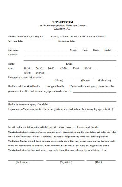 printable signup form
