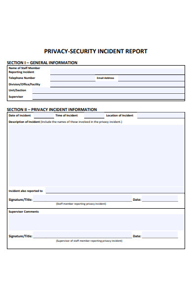 privacy security incident report form