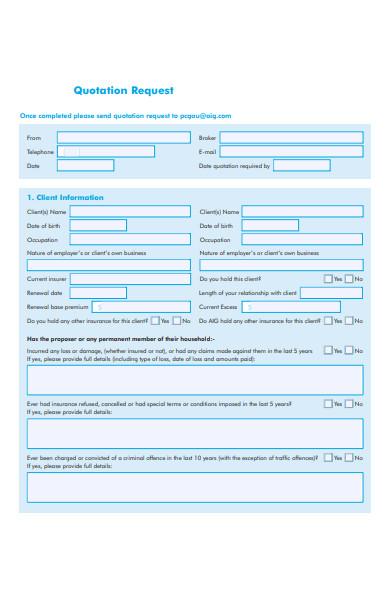 private client quotation form