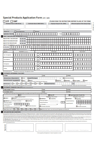 product application form