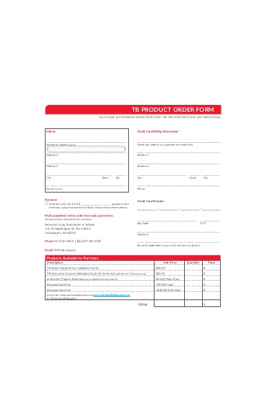 product order form in pdf