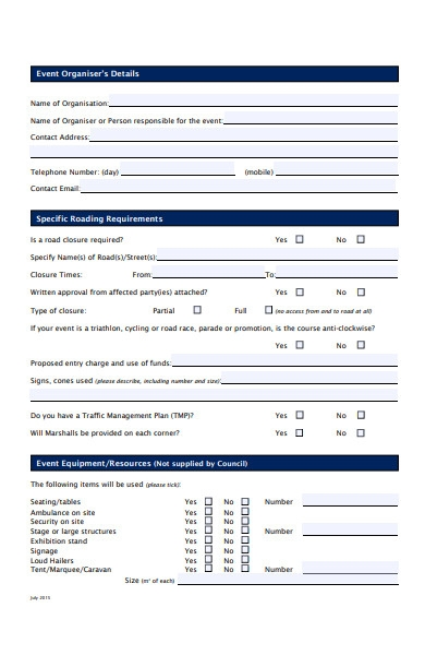 professional event booking form