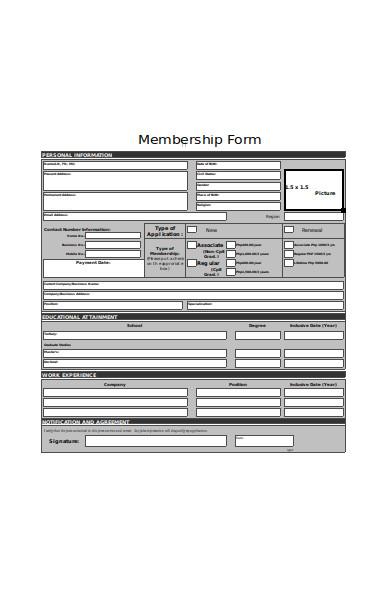 professional membership form