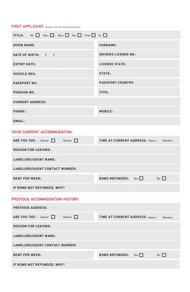 professional rental application form