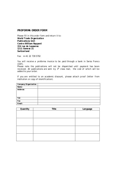 proforma order form template
