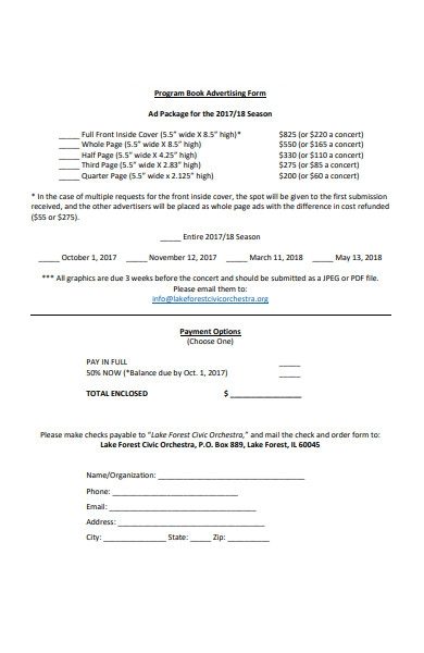 program book advertising form