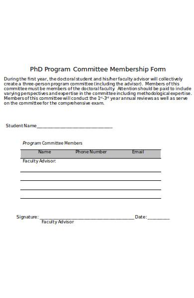 program committee membership form