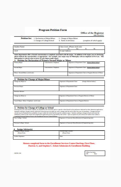 program petition form