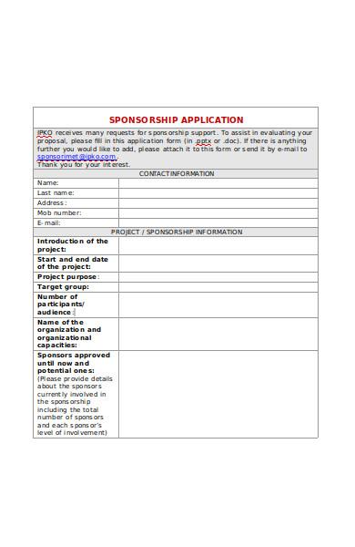project sponsorship application form