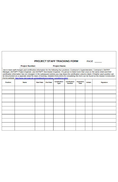 project staff tracking forms