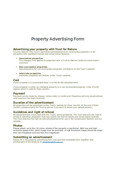 property advertising form