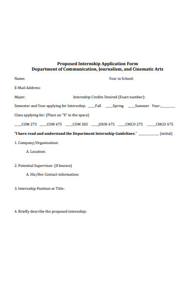 proposed internship application form