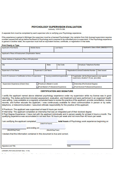 psychology supervision evaluation form