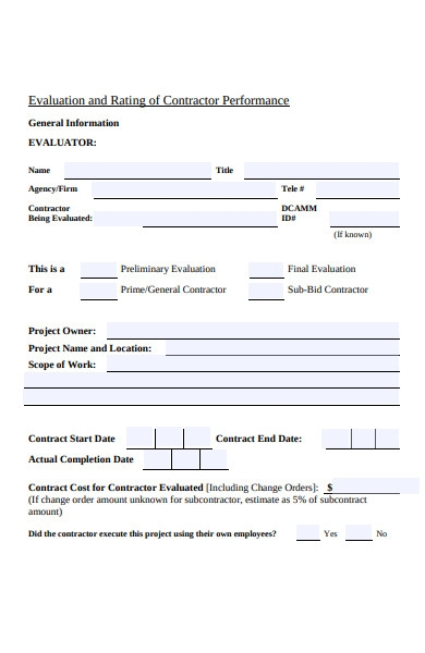 public evaluation form
