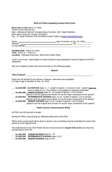 public speaking contest entry form