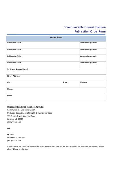 publication order form sample