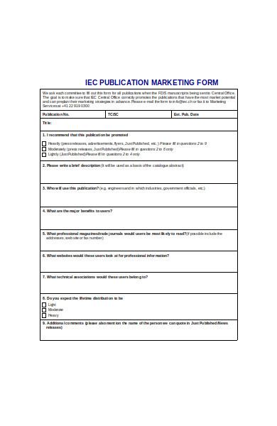 publications marketing form
