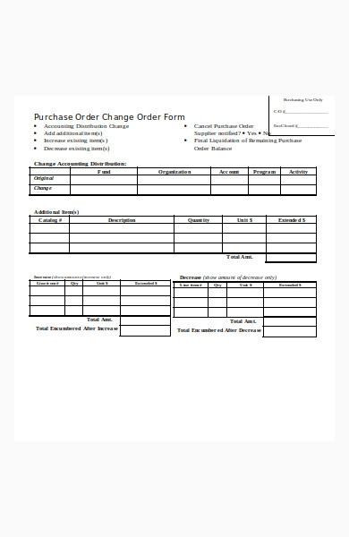 purchase order chang order form