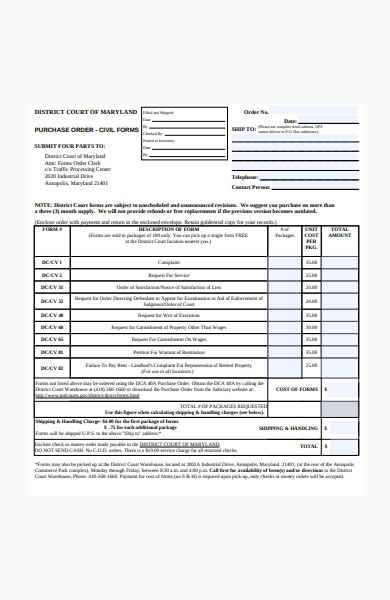 purchase order civil form