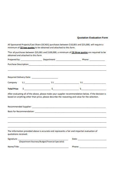 quotation evaluation form sample