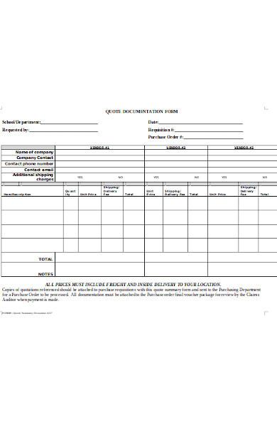 quote documentation form
