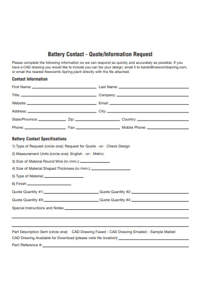quote information request form