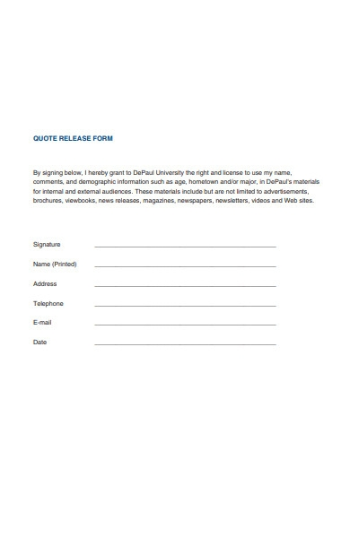 quote release form