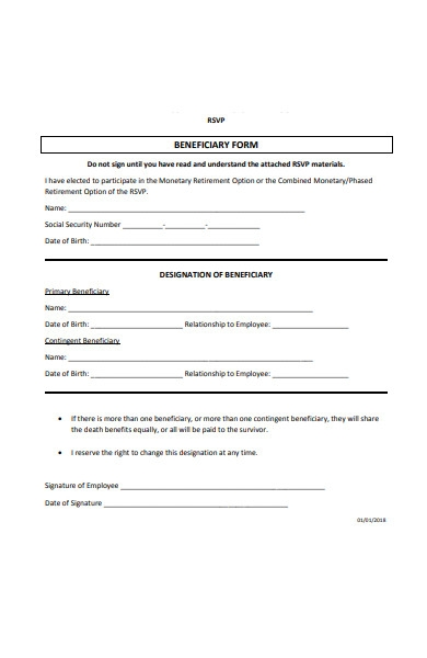 rsvp beneficiary form
