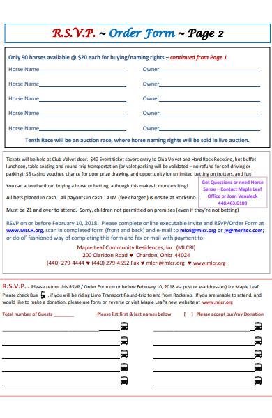 rsvp order form