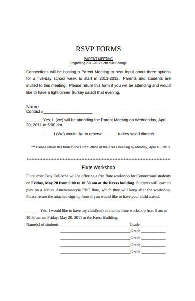 rsvp parent meeting form