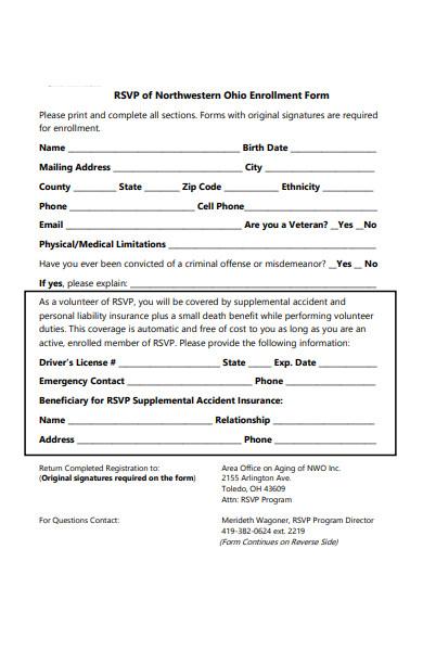 rsvp registration form