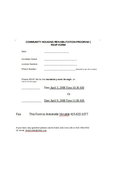 rsvp rehabilitation program form