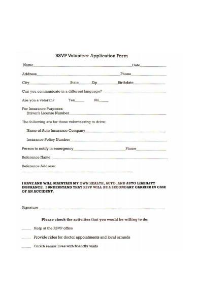 rsvp volunteer application form