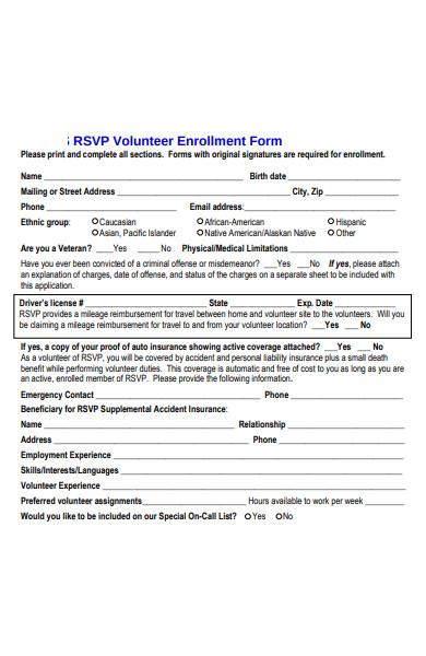 rsvp volunteer enrollment form