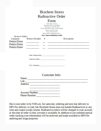 radioactive order form template