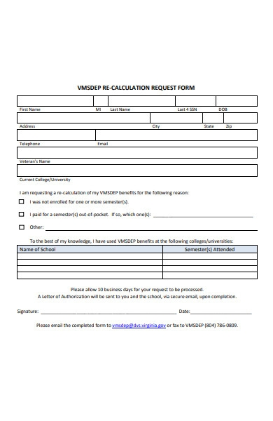 re calculation request form