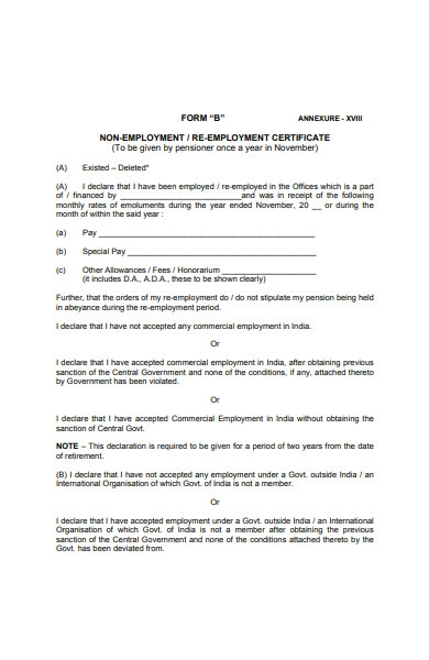 re employment certificate form