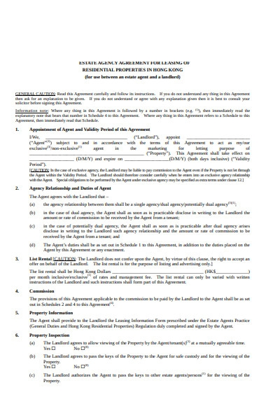 real estate agency leasing form