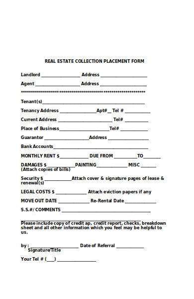 real estate collection placement form