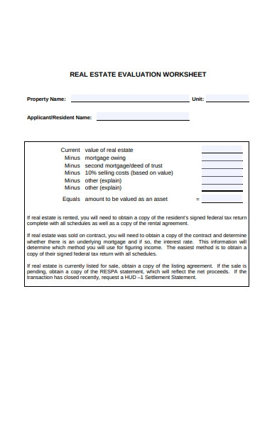 real estate evaluation form
