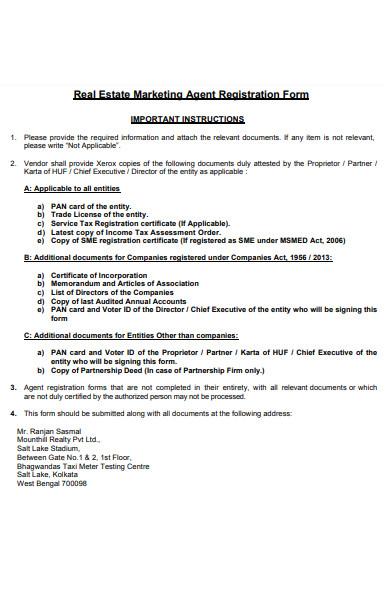 real estate marketing agent registration form
