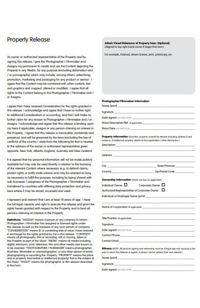 real estate property release form