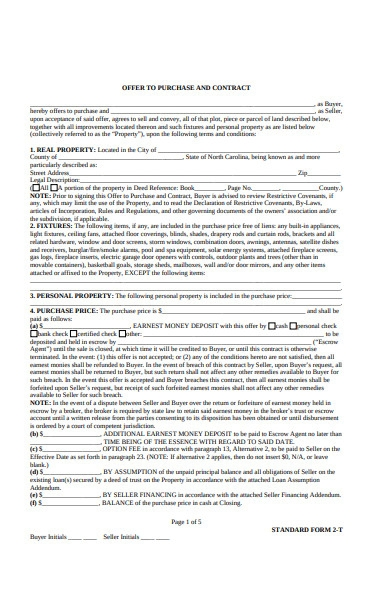 real estate purchase form