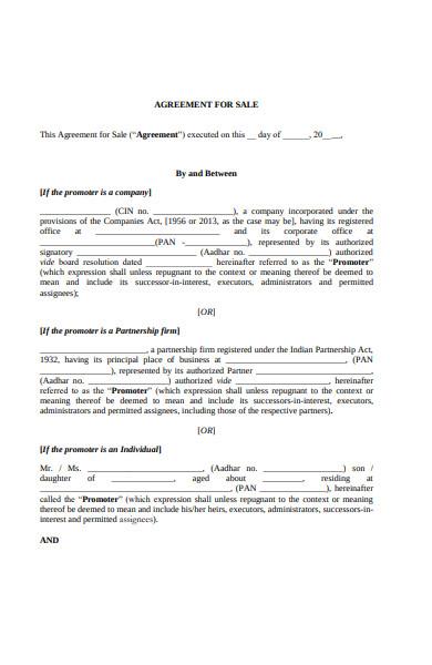 real estate sale agreement form