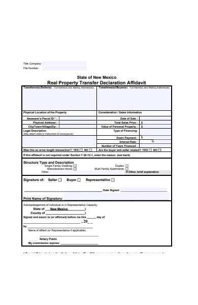 real estate transfer declaration form