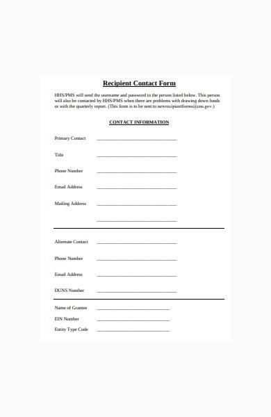 recipient contact form