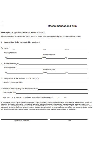 recommendation form sample