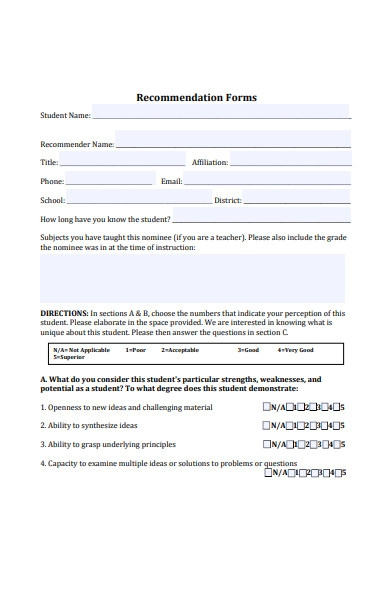 recommendation short form