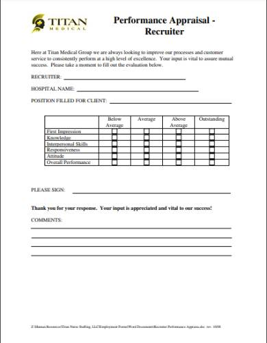 recruiter performance appraisal review form