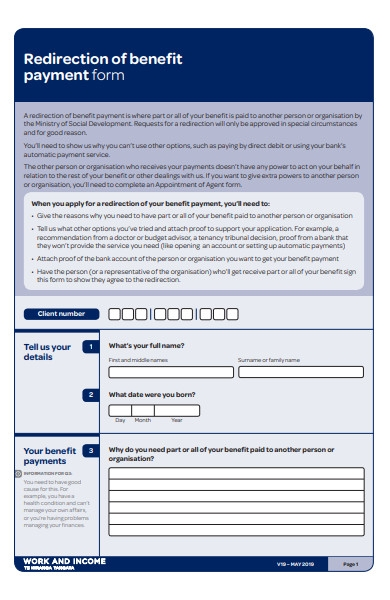 redirection benefit payment form